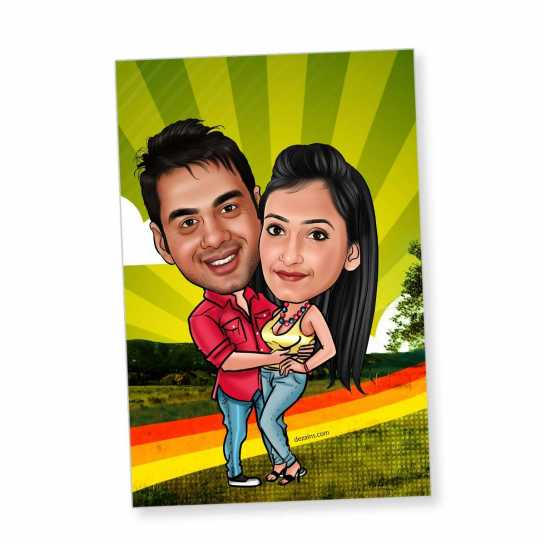 Holding Tight - Caricature magnet