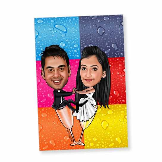 Wine Couple - Caricature magnet