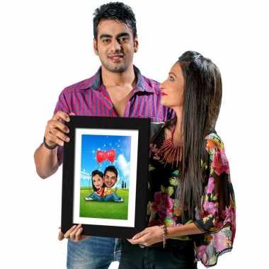 Happy Lovers - Caricature Photo Frame