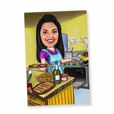 Cooking - Caricature Fridge Magnet