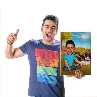 Yoga Boy - Caricature Canvas