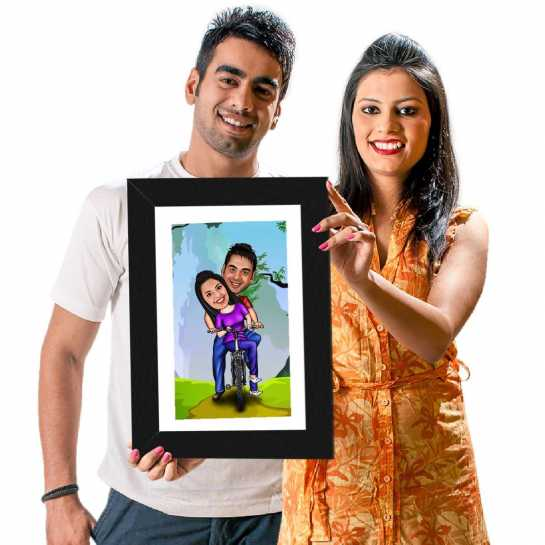Cycling Couple - Caricature Photo Frame