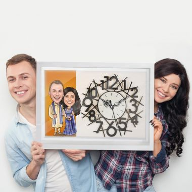 Ethnic Couple - Personalized Caricature Canvas Wall Clock
