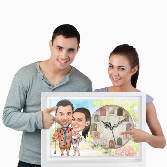 Flinstone Couple - Personalized Caricature Wall Clock