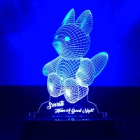 3D Teddy Night Lamp - Blue LED