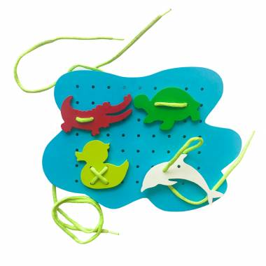 Lake and Animal Sew Board Toy for Kids
