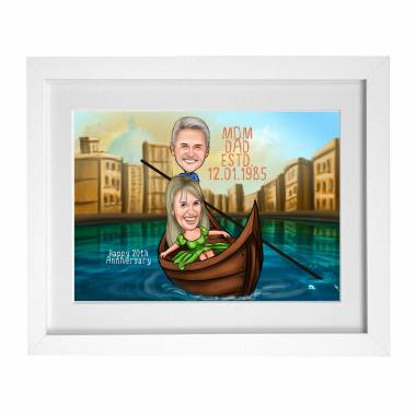 Mom Dad Anniversary Caricature Frame - Catching Stars
