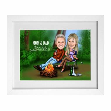 Caricature frame for Parent's Anniversary - By the fire