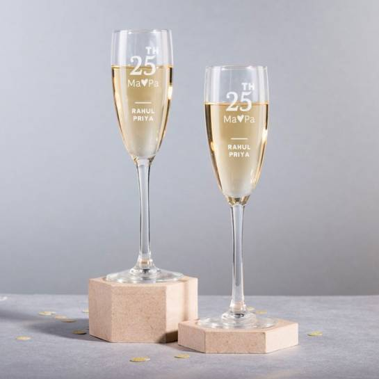 Mom Dad 25th Anniversary Champagne Glasses
