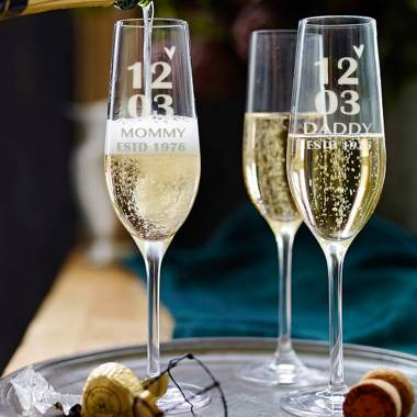 Anniversary Date on Champagne Glasses