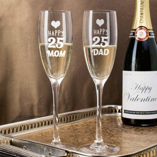 25th Anniversary Engraved Champagne Glasses