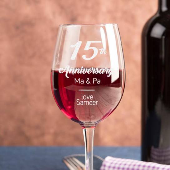 15th Wedding Anniversary Wine Glasses