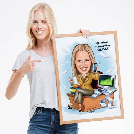 Hard Working Girl - Customised Caricature Photo Frame