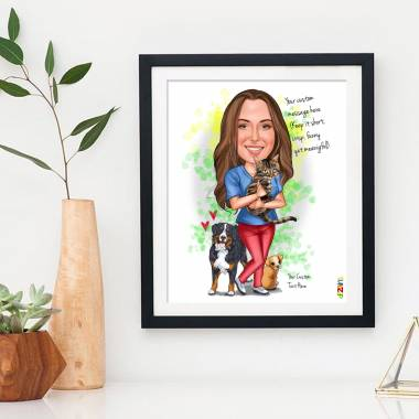 Dog Cat Lover Girl - Customised Caricature Photo Frame