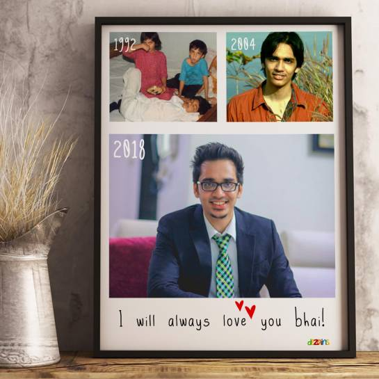 Love you Bhai - Photo Collage Frame for Brother