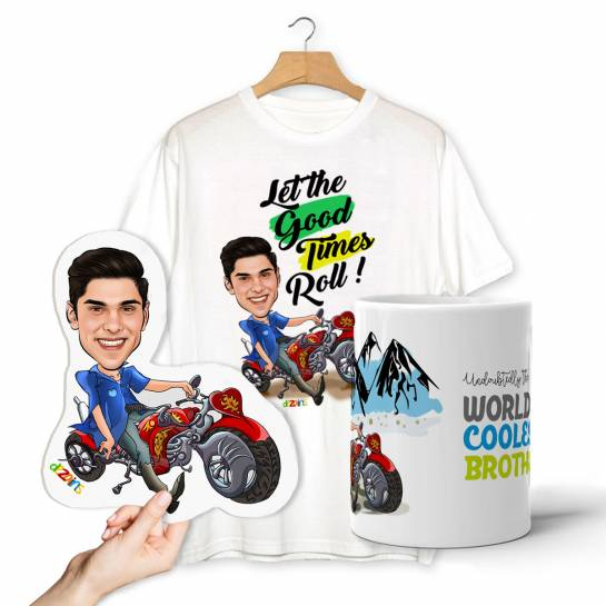 Coolest Brother Caricature Combo - T-shirt Mug Magnet