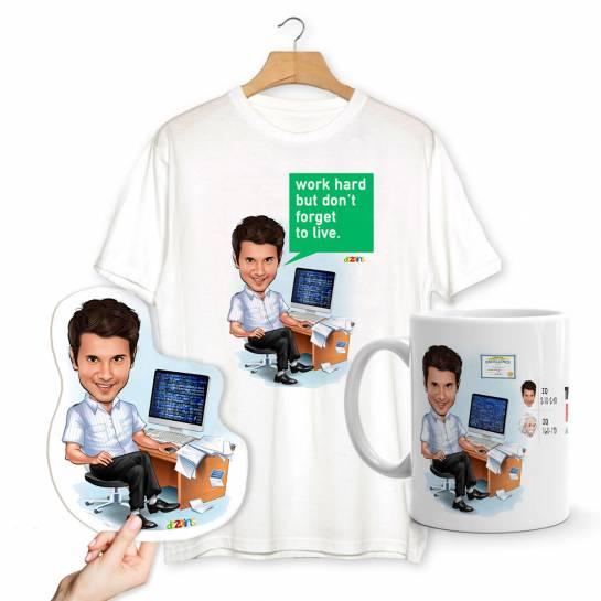 Smartest Brother Caricature Combo - T-shirt Mug Magnet