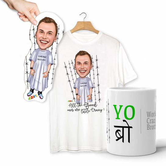 Crazy Brother Caricature Combo - T-shirt Mug Magnet