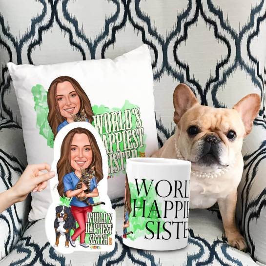 Happy Sister with Pets Caricature Gift