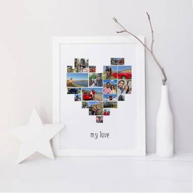 20 Photo Collage Heart Shaped Wall Art Frame