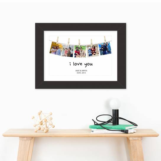 5 Photo Hanging from Clip Wall Art Frame