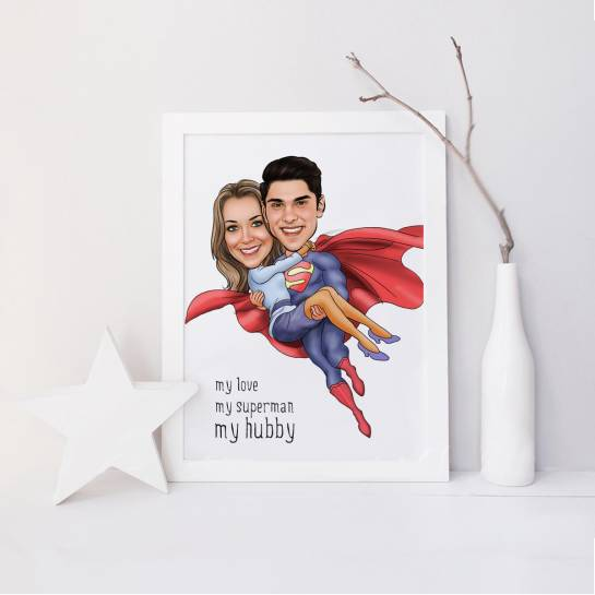 Super Husband Customised Caricature Photo frame for Couples
