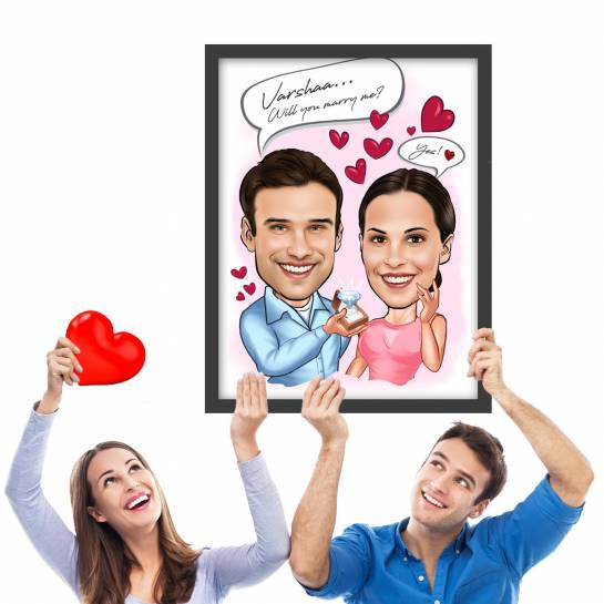 Guy proposing to Girl Personalised Caricature Wall Art