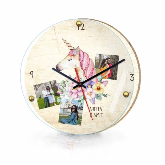 Designer Wall Clock with Photo and Name