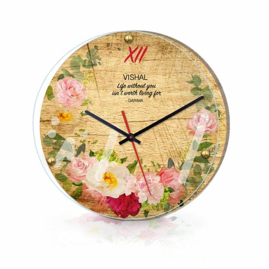 Vintage Wall Clock Customised with Message