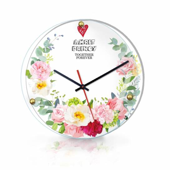 Decorative Flower Wall Clock with Couple Name