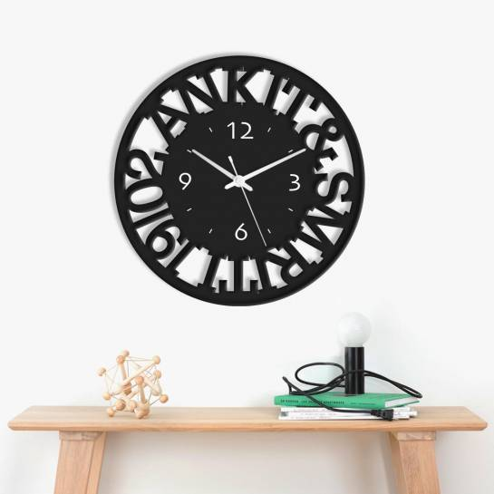 name cutout customised designer wall clock