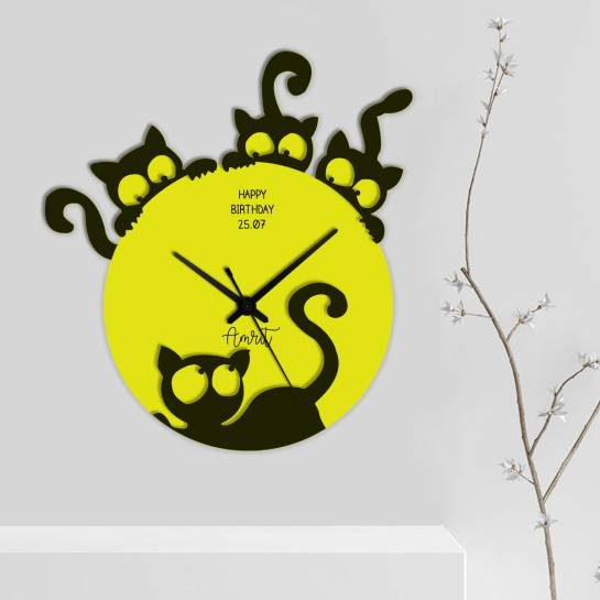 designer cat styled personalised wall clock