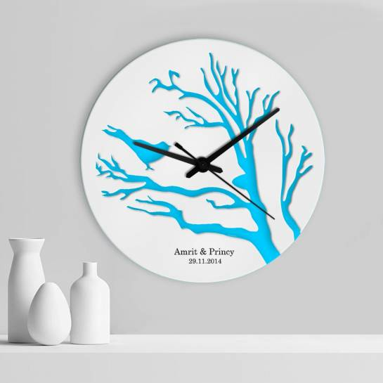 blue bird designer customised wall clock