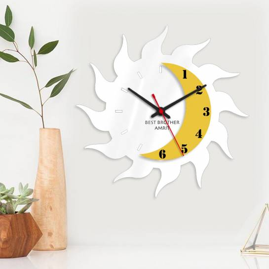 sun moon designer wall clock with name