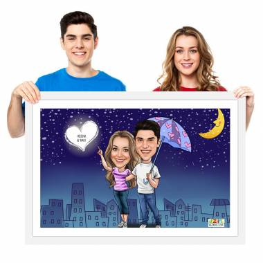 Caricature Photo Frame - Night Sky