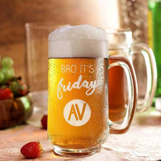 Beer Mug - Engraved Initials - Bro its Friday