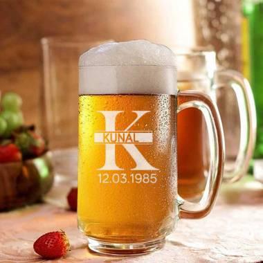Engraved Beer Mug - Name And DOB