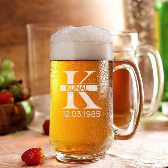 Engraved Beer Mug - Name And DOB