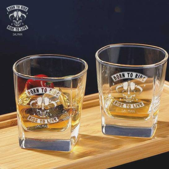 2 Whiskey Glasses - Born to Ride