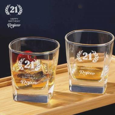 2 Whiskey Glasses - Happy Birthday