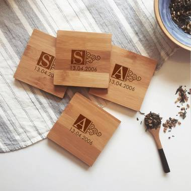 Letter engraved Keychains + Coasters