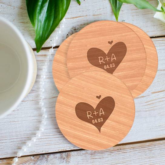 wooden coaster with heart engraving