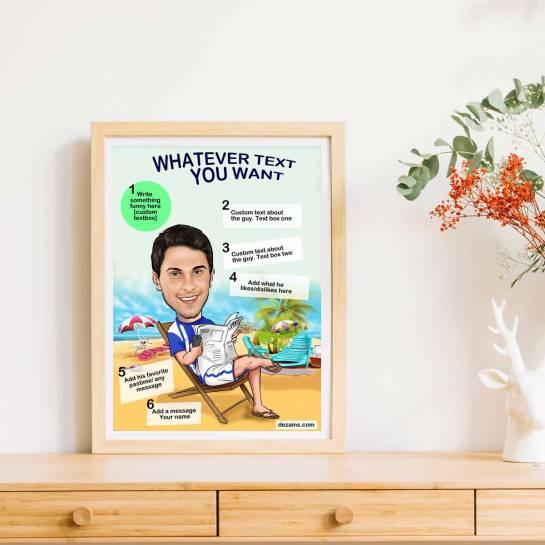 beach boy caricature poster