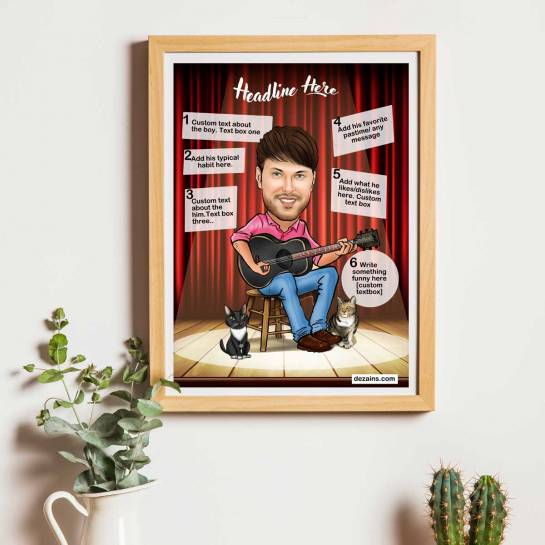 Caricature Poster - Playing Guitar