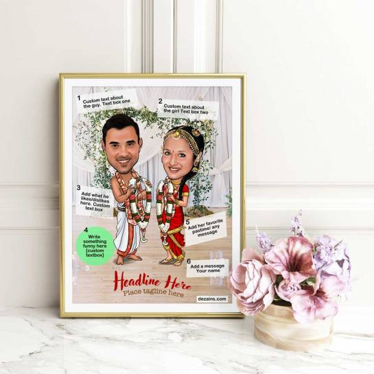 Caricature Poster - South Indian Wedding