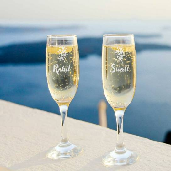 Champagne Glasses little heart engraved with name