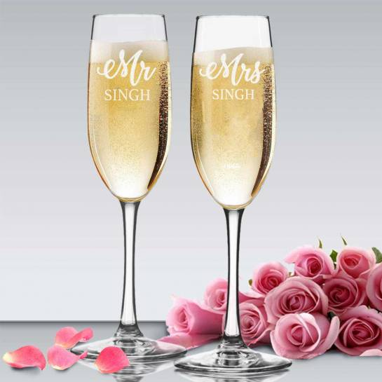 Personalized engraved Champagne Glasses