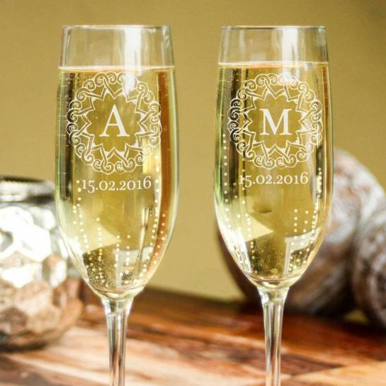 Champagne Glasses - Etched with Initials