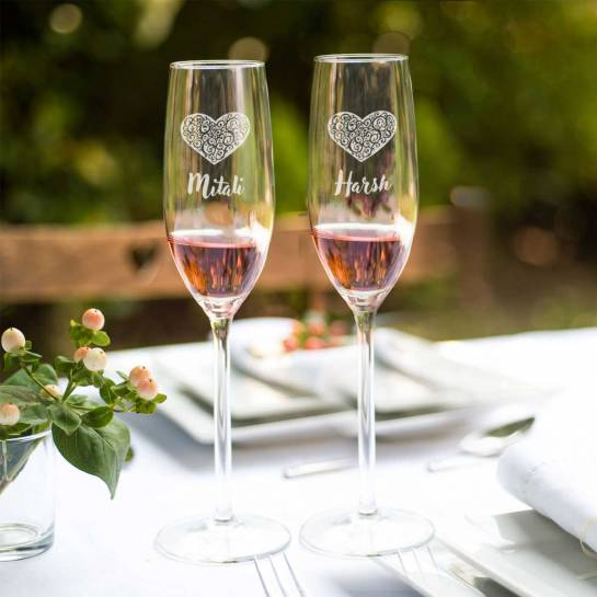 Champagne Glasses Heart Engravings