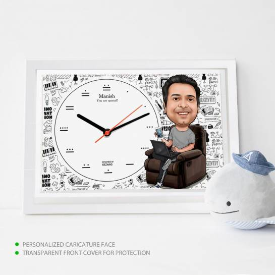 Caricature Wall Clock - Creative Guy